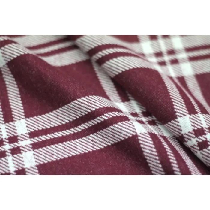 tissu lainage carreaux bordeaux blanc