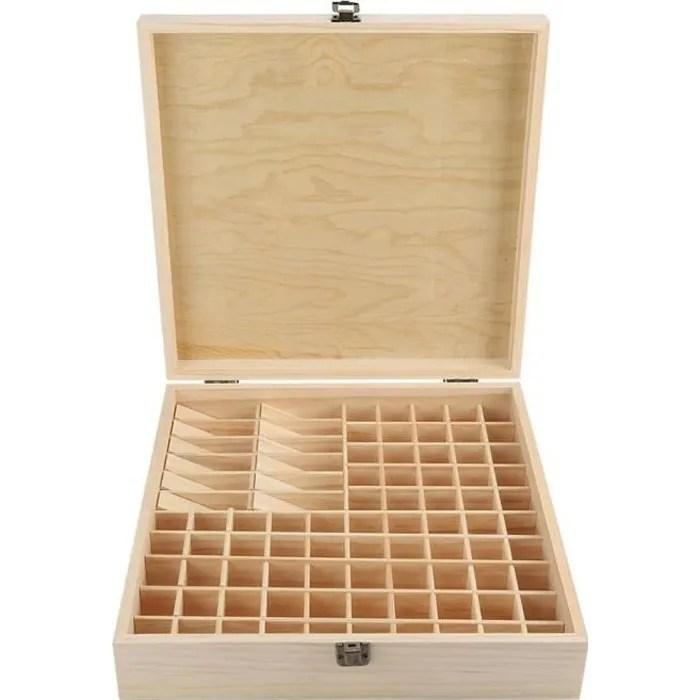 boite rangement a compartiment en bois pour 87 flacons huile essentielle