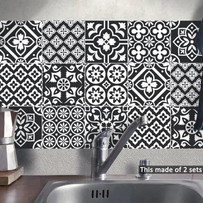 sticker carrelage noir blanc cuisine salle bain to