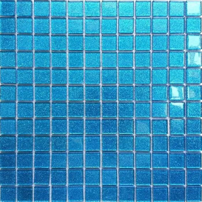 carrelage mosaique en verre bleu avec des paillet