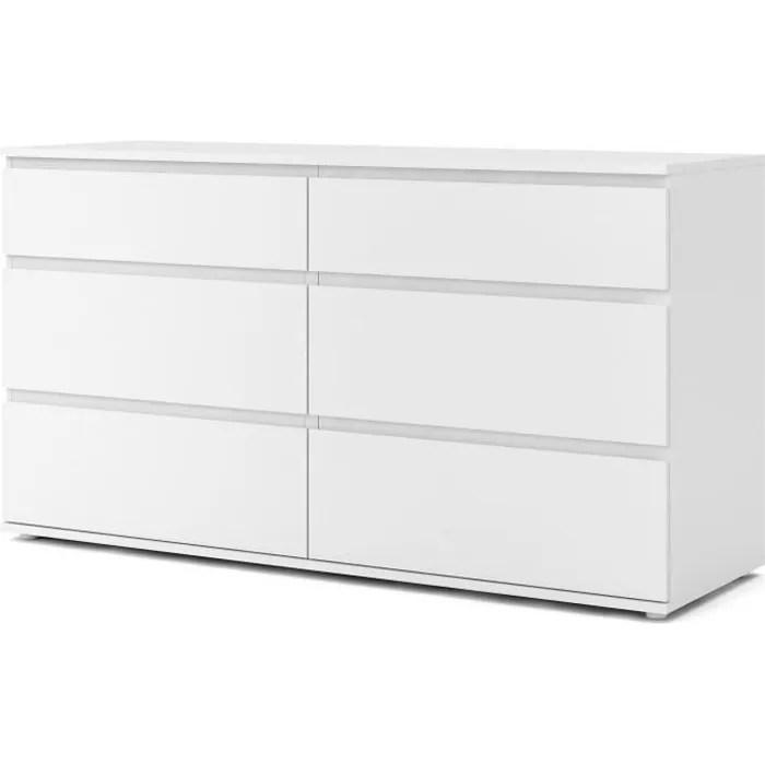 commode 6 tiroirs decor blanc l 153 4 x p 50 x h 83 70 cm omaha