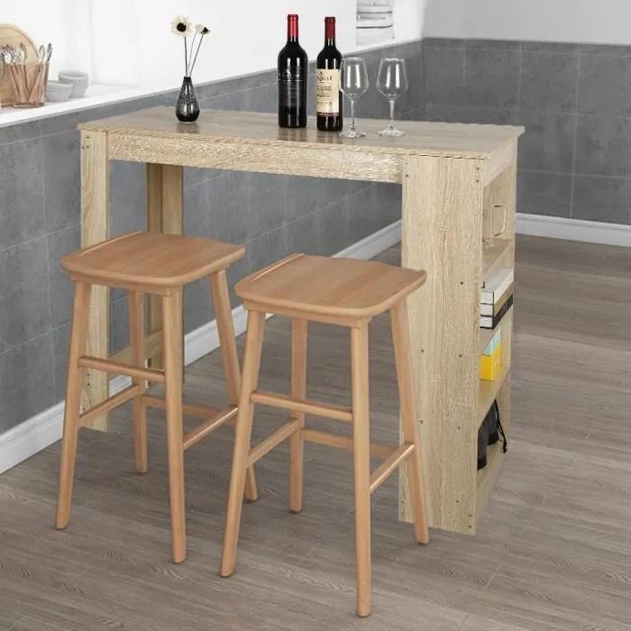table haute de bar mange debout cuisine avec rangements decor chene