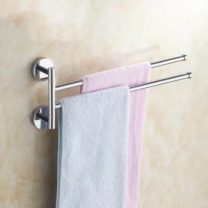 2 barres porte serviette mural salle de bain pivotantes ou cuisine en acier inox porte vetements seche serviettes salle de bain