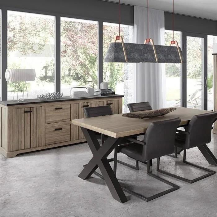 salle a manger contemporaine couleur bois et anthracite lewis marron l 120 x p 45 x h 180 cm