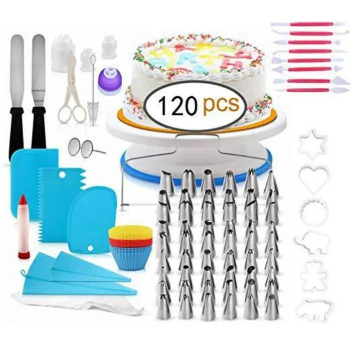 plateau tournant de gateau kit de patisserie inclure gateaux tournant spatule a glacage pour cuisine decoration de gateaux 120pcs
