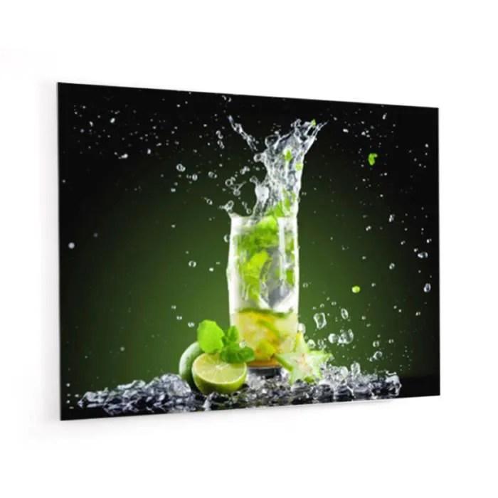 fond de hotte cocktail mojito en panneau composite aluminium l 90 x h 70 cm