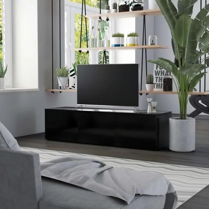 meuble tv table pour salon moderne noir 120x34x30