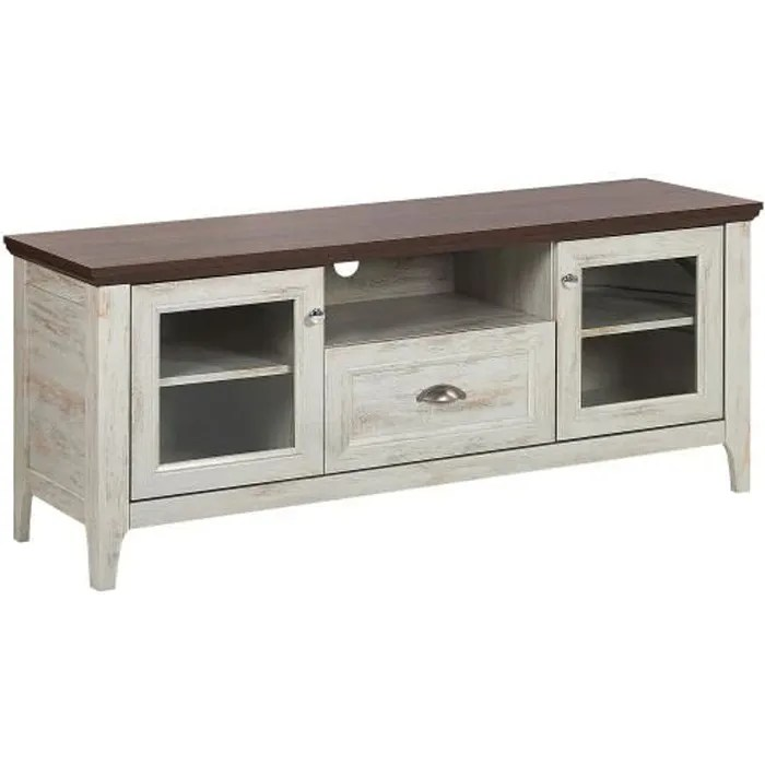beliani meuble tv blanc et bois fonce medan
