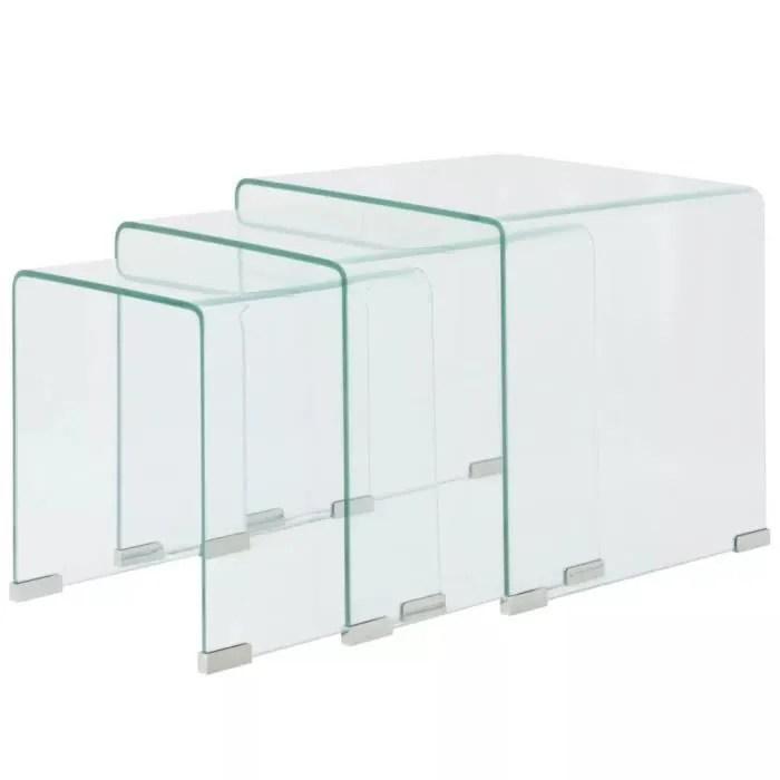 ensemble de tables gigognes 3 pieces verre trempe transparent