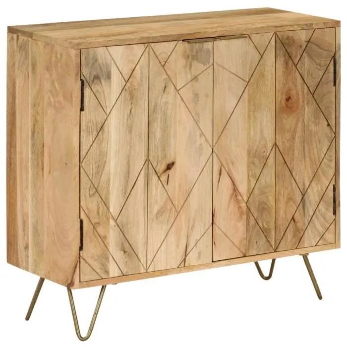 buffet armoire de rangement haut qualite bois de manguier massif 80 x 30 x 75 cm