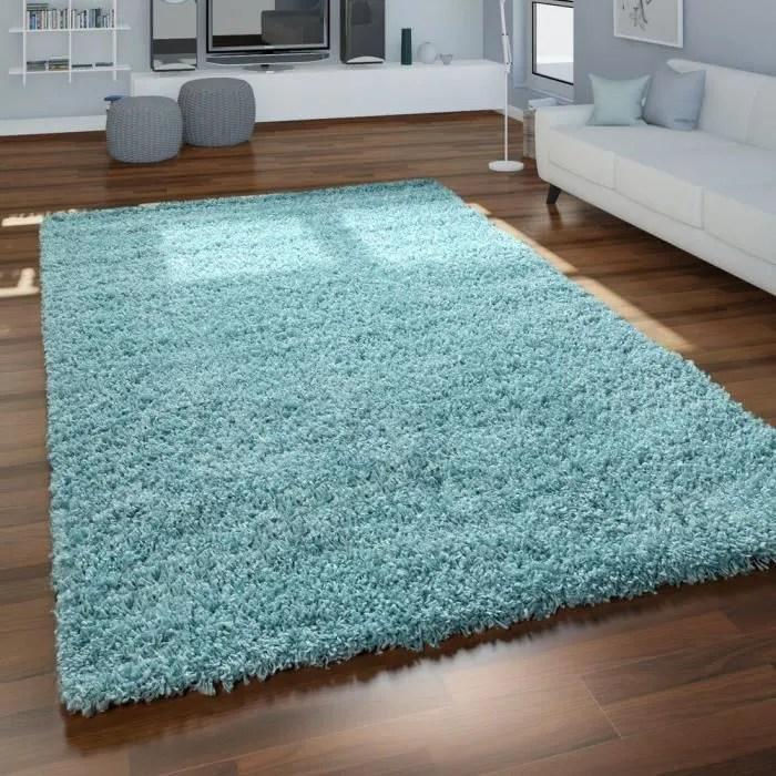tapis poils longs salon turquoise bleu moelleux doux shaggy resistant 70x250 cm