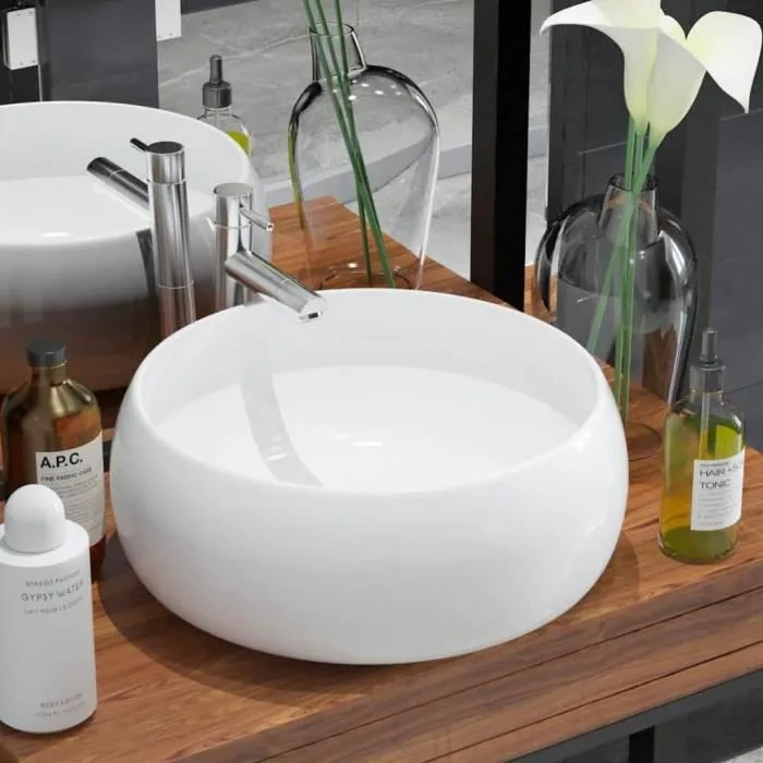 Lavabo Ronde Ceramique Blanc 40 X 16 Cm Vasque A Poser Eviers Et Lavabos Pour Salle De Bain Achat Vente Lavabo Vasque Lavabo Ronde Ceramique Blanc Cdiscount