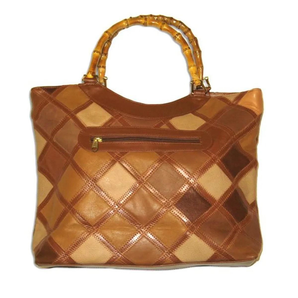 sac patchwork cuir poignees bambou
