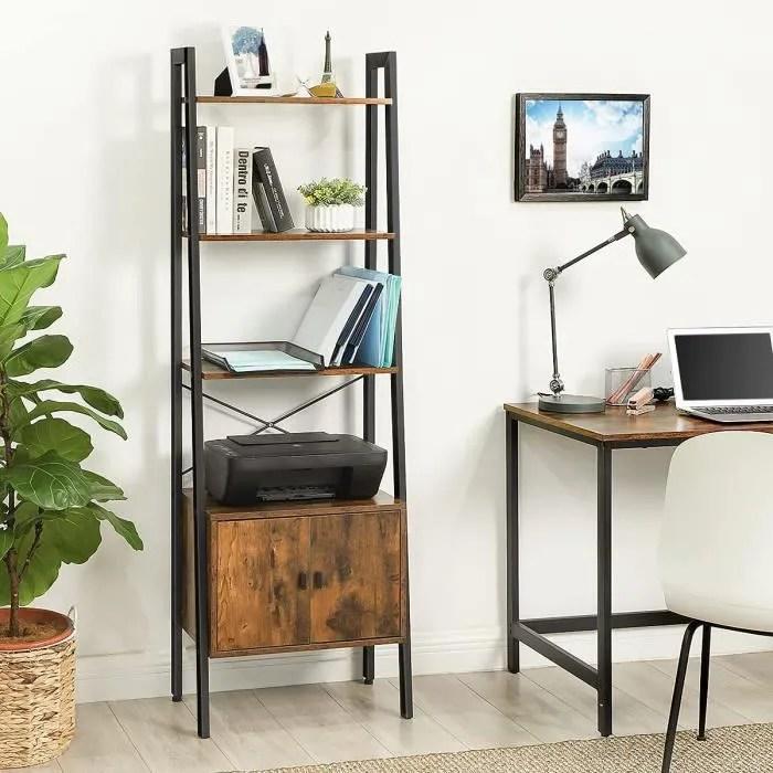 vasagle etagere echelle bibliotheque etagere de rangement avec placard 4 niveaux style industriel marron rustique lls47bx
