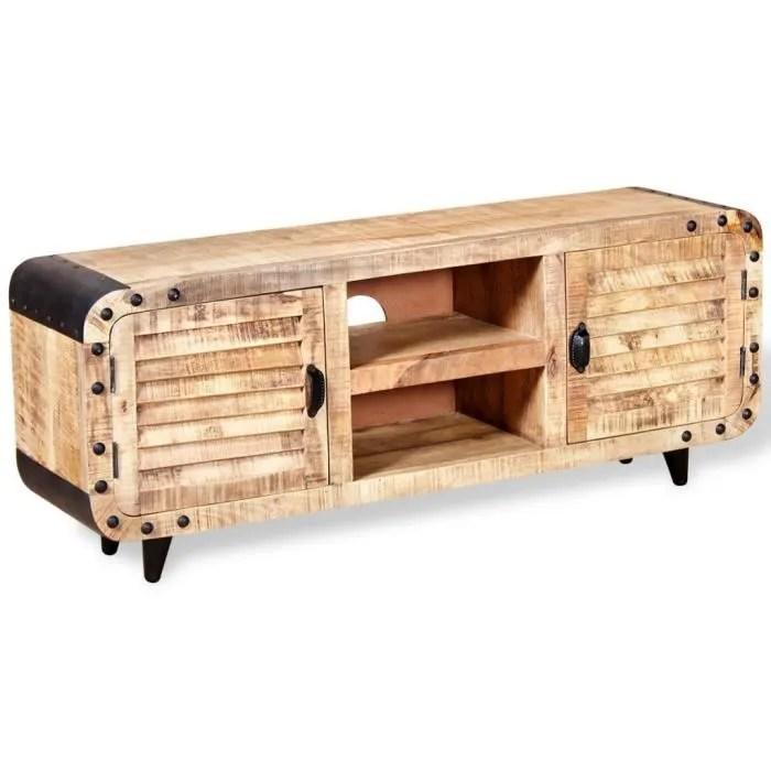 meuble tv bois de manguier massif 120 x 30 x 50 cm marron et noir
