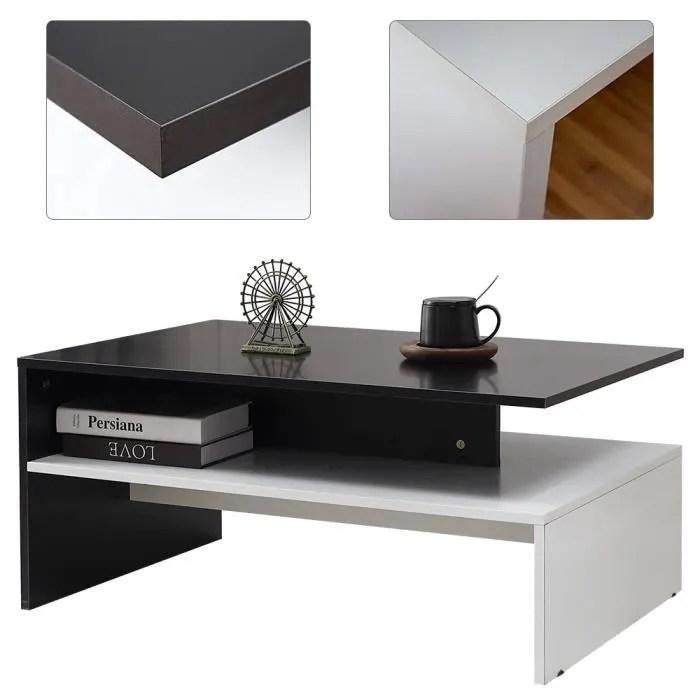 noir et blanc table basse de salon rectangulaire avec compartiment de rangement ouvert mixmest