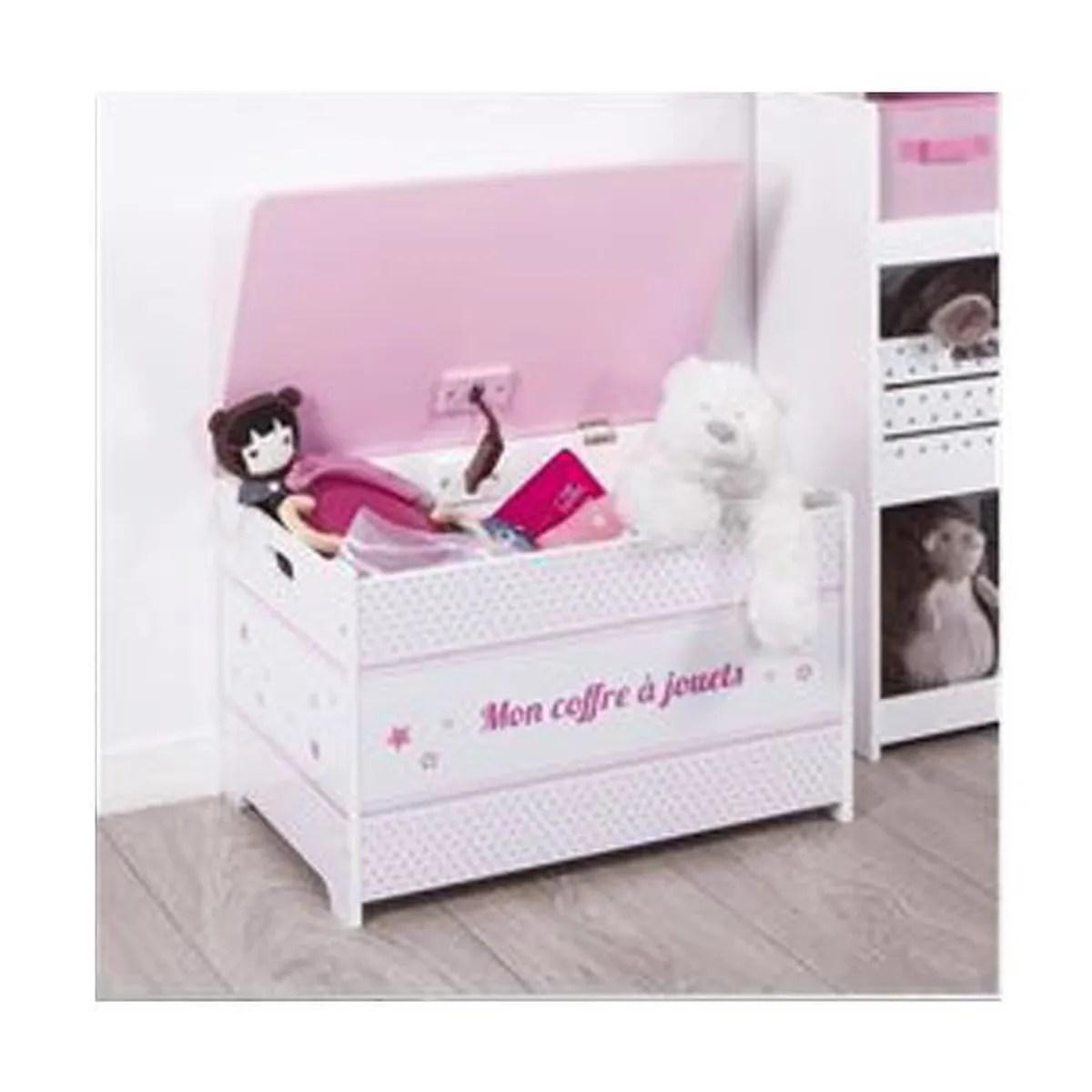 coffre jouet rose