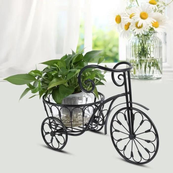 porte plante porte pots de plante fleurs etagere a fleurs fer forge jardiniere style velo retro presentoire des plantes support de