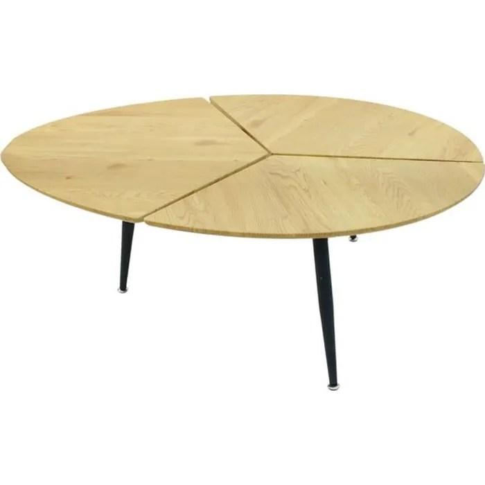 milda table basse ovale pieds metal et plateau bois