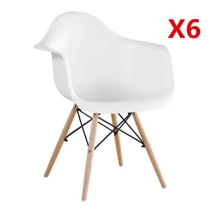lot de 6 chaises de salle a manger avec pieds en bois naturel fauteuils chaises design ergonomique