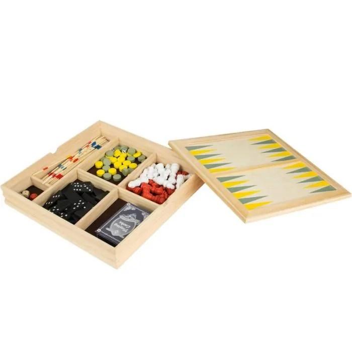 8 de trefle 38 2g 001 coffret jeux en bois 7 en 1 backgammon dames echecs dominos mikados des cartes