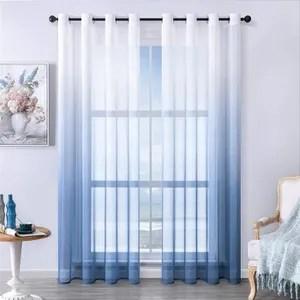 rideau voilage blanc et bleu