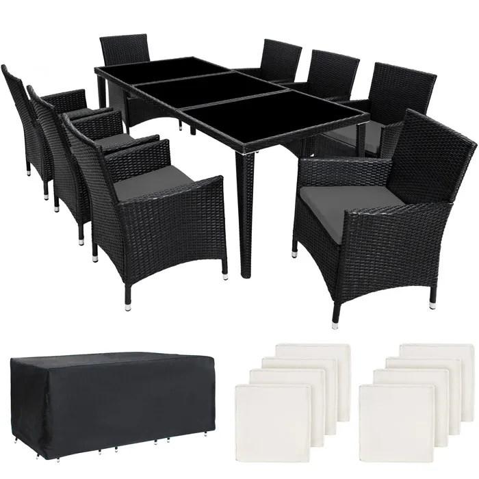 tectake salon de jardin monaco resine tressee 8 personnes 8 fauteuils 1 table 1 housse noir