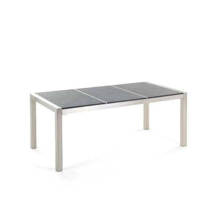 beliani table de jardin en plateau granit noir f