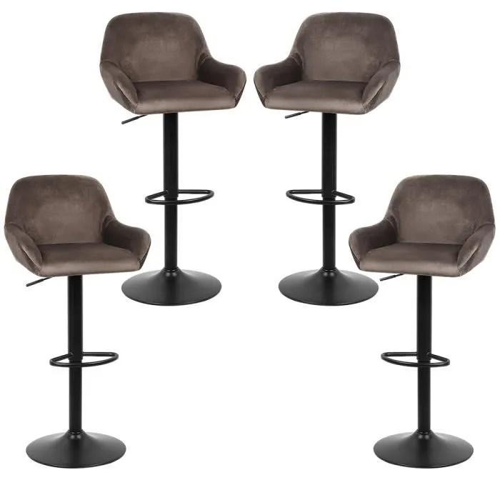 4 x tabouret de bar design braga tissu chaise de