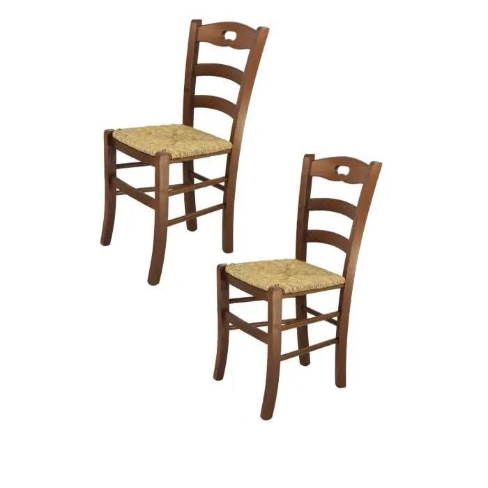 tommychairs set 2 chaises cuisine savoie robuste structure en bois de hetre peindre en couleur noyer et assise en paille