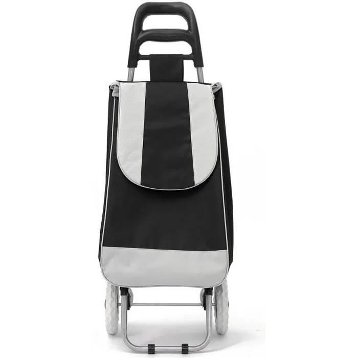tempsa chariot de courses 2 roues marche pousser pliable bagage 91x35x25cm noir