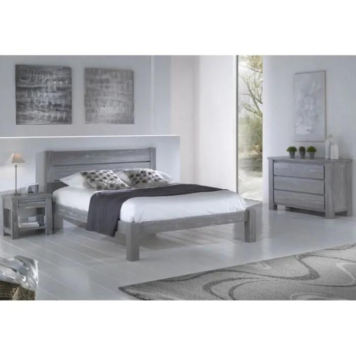 chambre complete 160 200 bois massif gris gabriel l 173 x l 214 x h 35 9