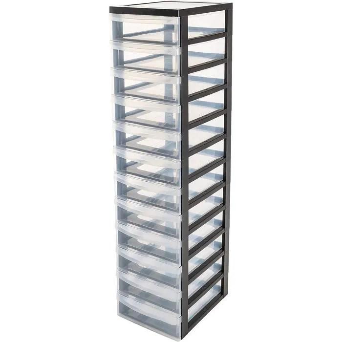 iris ohyama tour de rangement sur roulettes a 10 tiroirs design chest dc 012 plastique noir transparent 12x7l 40x29x120 cm