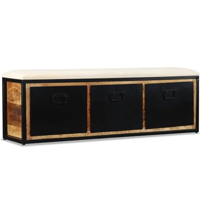 banc de rangement pouf coffre de rangement avec 3 tiroirs bois de manguier 120x30x40 cm