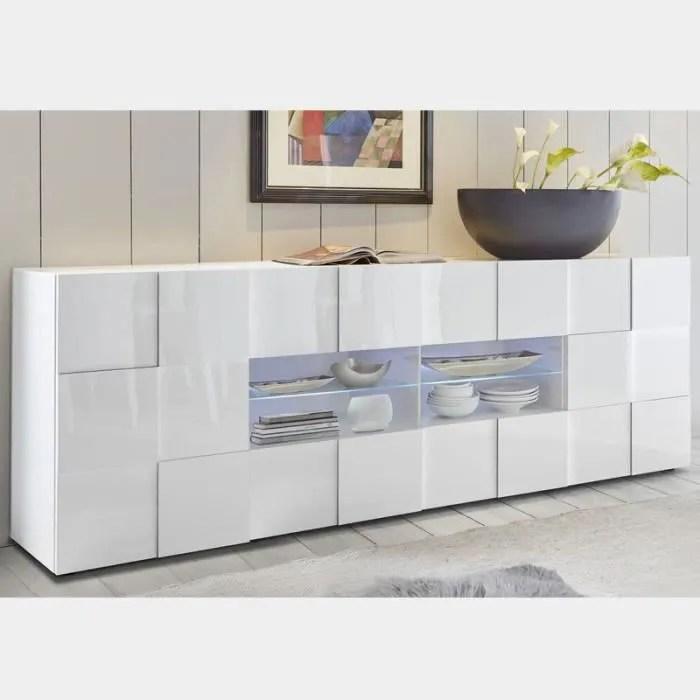 buffet 2 portes 4 tiroirs blanc laque design sandr