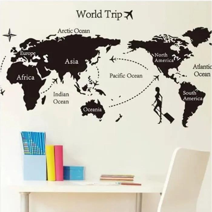 dm57 0168 voyage autour du monde stickers muraux carte du monde grande region fonds d ecran noir mur citation decor bureau