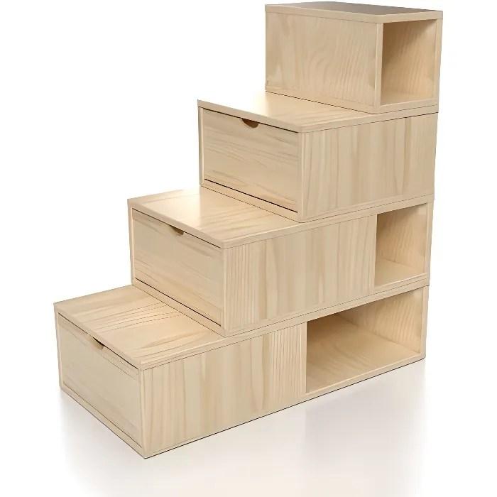 escalier cube de rangement hauteur 100 cm couleur brut