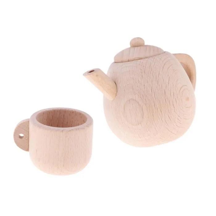 dinette cuisine 1 jouet de theiere en bois 1 jouet tasse a the en bois