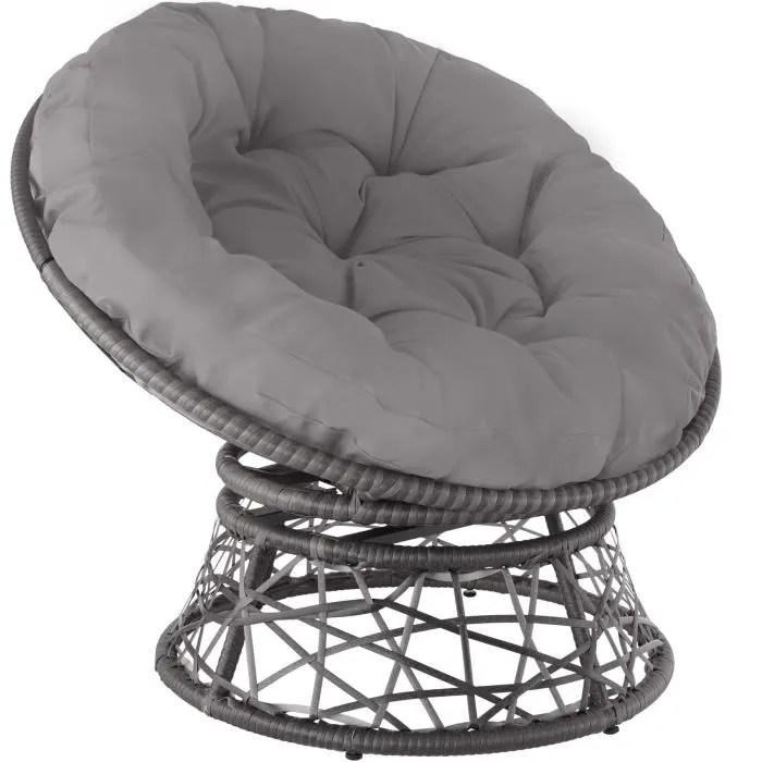 fauteuil papasan en rotin gargano gris