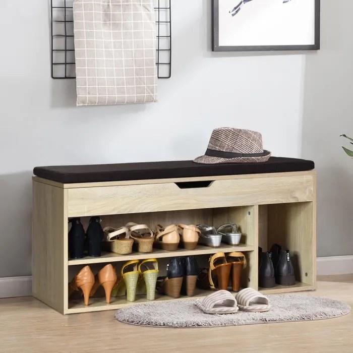meuble a chaussures banc pour rangement chaussures meuble de banc d entree avec coussin rembourre en bois avec siege 104x30x48 cm