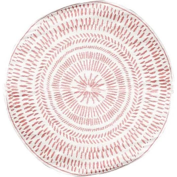 tapis rond exterieur 150 cm marron reversible autr