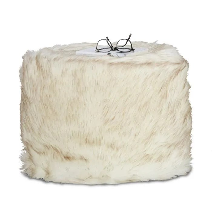 relaxdays tabouret fausse fourrure pouf
