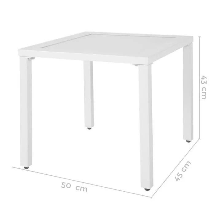 table basse de jardin vendue seule table d appoint d exterieur aluminium verre blanc vado l 50 x l 45 x h 43