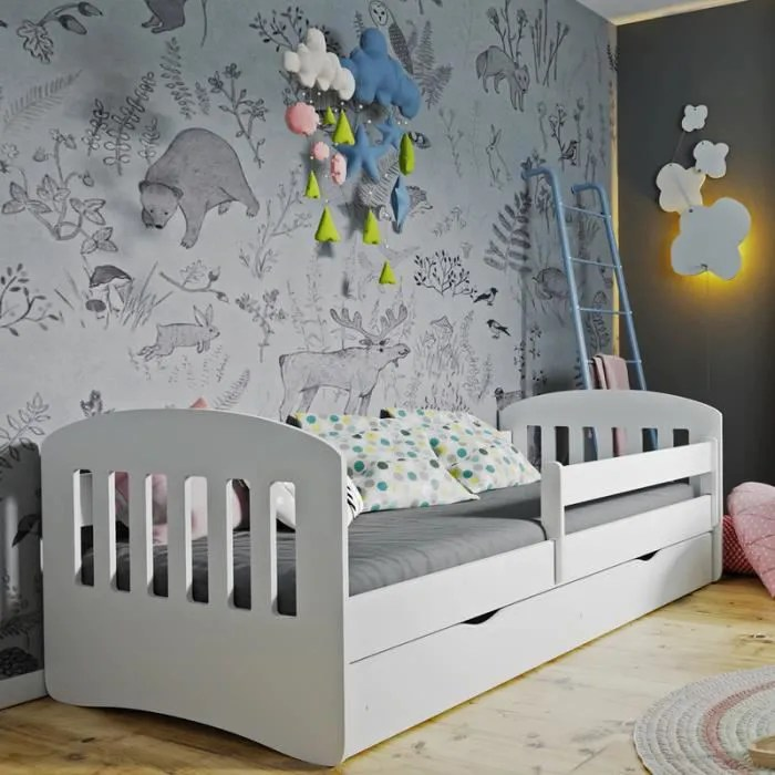 lit enfant avec barriere de securite pamma 160x80 cm blanc avec tiroir de rangement matelas inclus