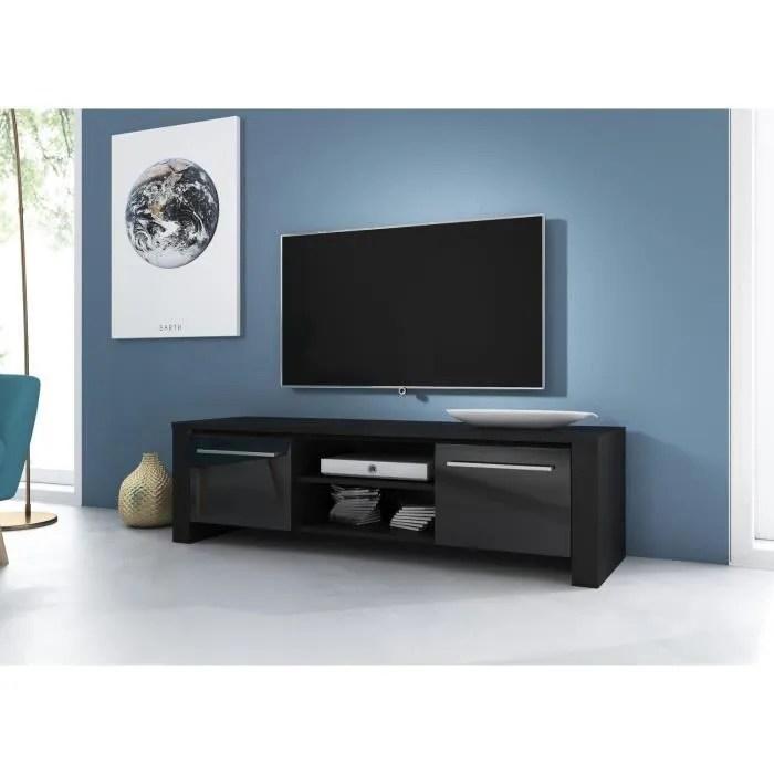 vivaldi meuble tv manhattan 140 cm noir mat