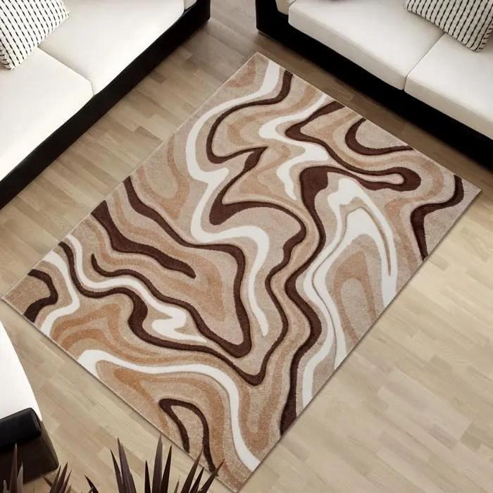 tapiso sumatra tapis salon chambre adomoderne abstrait vagues beige marron blanc doux 140 x 190 cm