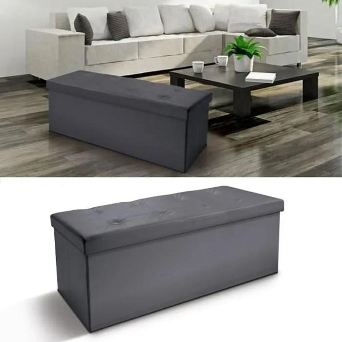 banc avec coffre rangement pliable gris 76 x 38 x 38 cm
