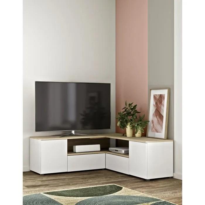 symbiosys meuble tv angle contemporain decor chene naturel et blanc l 129 8 cm