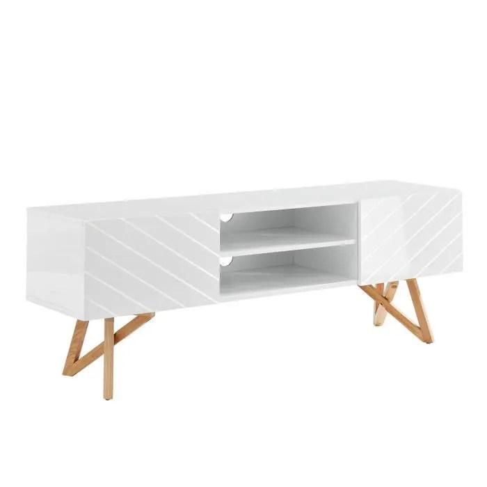 meuble tv scandinave blanc laque