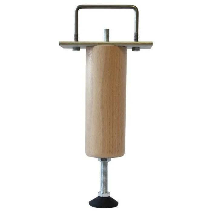 pied de lit renfort reglable en bois hetre massif verni incolore h 21 a 25 cm